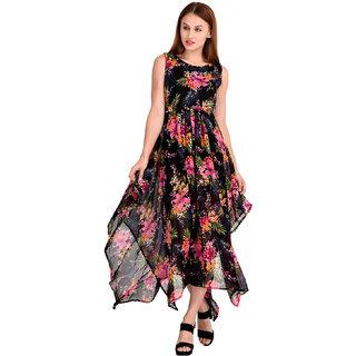 Westrobe Women's Black Floral Georgette Zig Zag Length Long Dress
