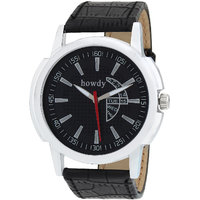 Howdy Smart Analog Black Dial Watch With Leather Strap - For Men's  Boys Ss516