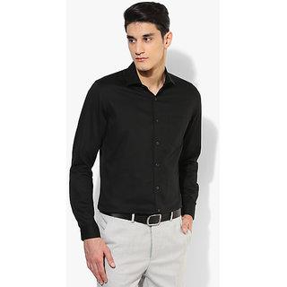 SSB DJ Black Solid Regular Fit Formal Shirt