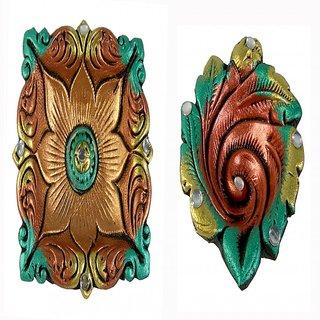 Saffron Craft Terracotta Big Colored Diya set of 2
