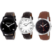 DCH NWC-9 Stylish 3 Leather Watches For Men's/Boys