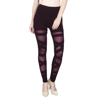 Vloria Lycra Women Purple Leggings