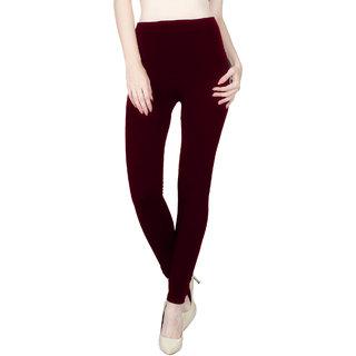 Vloria Polyester Women Maroon Leggings