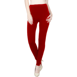 Vloria Polyester Women Red Leggings