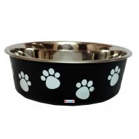 Petshop7 Bella Staiinless Steel Anti Skid Dog Food Bowl - Small - Black - 250 ML