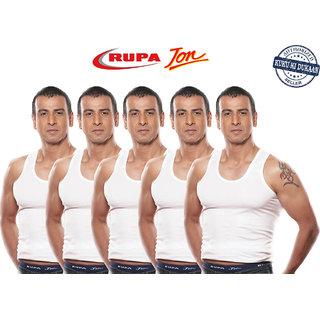 Rupa Jon White Sleeveless Men's Cotton Vests- Pack of 5