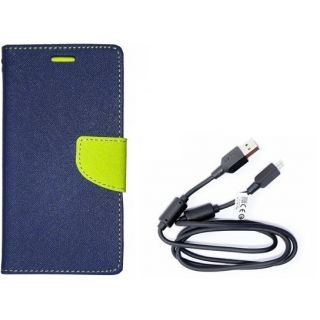 Mercury Wallet Flip Cover Case Micromax Canvas 2.2  A114  (BLUE) With 3 in 1 usb charging cable