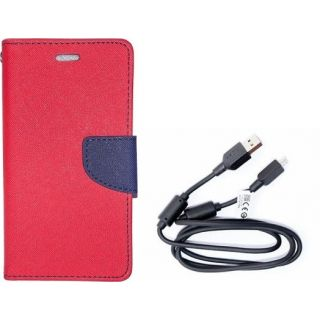 Mercury Wallet Flip Cover Case HTC One A9 (RED) With 3 in 1 usb charging cable