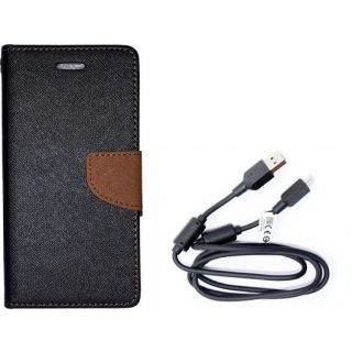 Mercury Wallet Flip Cover Case Asus ZenFone c (BROWN) With 3 in 1 usb charging cable