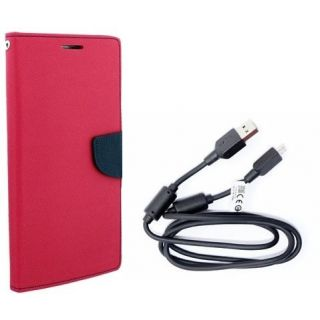 Mercury Wallet Flip Cover Case MICROMAX Q338  (PINK) With 3 in 1 usb charging cable