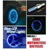 BLUE LED Flash Tire Wheel Valve Cap Light For Car Bike Bicycle-Set Of Two