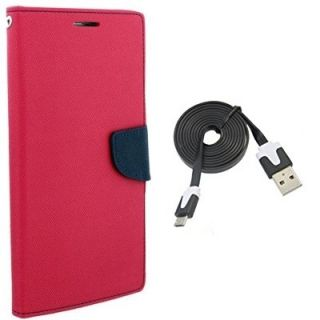 Mercury Wallet Flip Cover Case Micromax Canvas Blaze 4G Q400 (PINK) With usb data cable