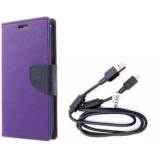 Mercury Wallet Flip Cover Case Micromax Canvas 2.2  A114  (PURPLE) With Genuine USB Charging Data Cable