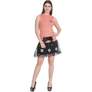 Lee Marc Pink Plain A Line Dress For Women