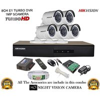 Hikvision Turbo DS-7208HGHI-E1 8CH DVR + Hikvision HD DS-2CE16COT-IR Bullet Camera 5Pcs + 1TB HDD