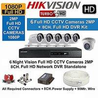 Hikvision Full HD (2MP) 6 CCTV Cameras  8 Ch.Full HD DVR Kit (All Accessories)