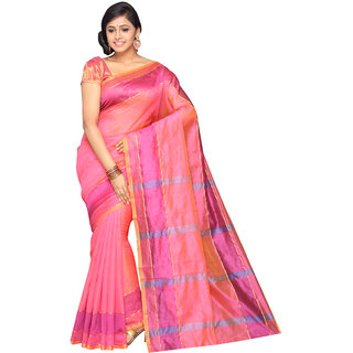 Pavecha's Pink Solid Cotton Silk Saree with Blouse