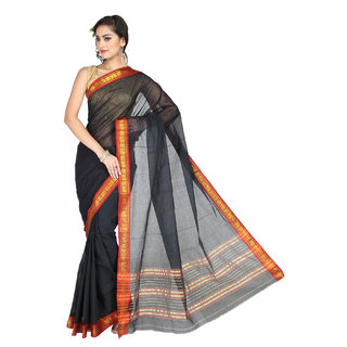 Pavechas Black Solid Cotton Saree with Blouse
