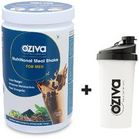 OZiva Nutritional Meal Shake For Men, 1 Month Weight Loss - 2 Jars(500g), Chocolate + FREE Shaker