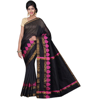 Pavechas Black Solid Cotton Silk Saree with Blouse