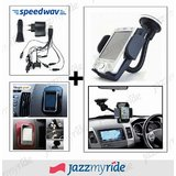 Combo Of Fly Mobile Phone / GPS Holder + All-in-One Mobile Car Charger + Magic Stick Pad