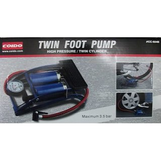 Original COIDO Air Foot Pump 8cm Double Cylinder Tire/Tyre Inflator for Bike/Car available at ShopClues for Rs.1035