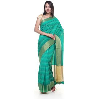 sudarshansilk Green Raw Silk