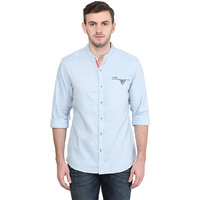 Wrangler Blue Casual Cotton Shirt for Men