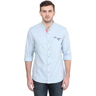 Wrangler Blue Casual Cotton Shirt for Men
