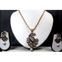 Chain Peacock Pendant Necklace Set