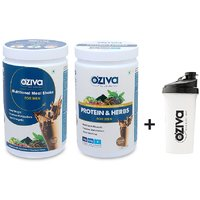 OZiva Nutritional Meal Shake + Protein  Herbs  For Men - 2 Jars (500g) + FREE Shaker