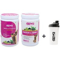 OZiva Nutritional Meal Shake + Protein  Herbs For Women - 2 Jars (500g) + FREE Shaker