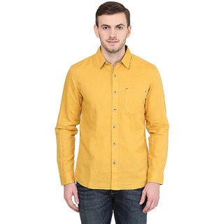 Wrangler Yellow Casual Linen Shirt for Men