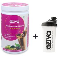 OZiva Nutritional Meal Shake For Women, 3 Month Weight Loss - 6 Jars ( 500g), Chocolate + FREE Shaker