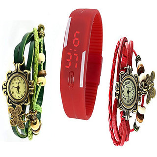 Jack klein's Combo of Stylish Red  Green Vintage and Red Led Watches by you store