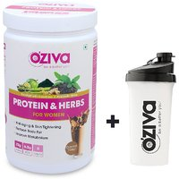 OZiva Protein  Herbs For Women, 3 Month Tone Up - 6 Jars (500g), Chocolate + FREE Shaker