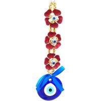Nazar Suraksha Kavach Door Wall Car Hanging Eye Catching Evil Eye Amulet- Red Flower Big
