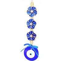 Nazar Suraksha Kavach Door Wall Car Hanging Eye Catching Evil Eye Amulet- Blue Flower Big