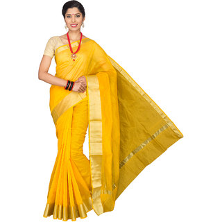 Pavecha's Yellow Solid Cotton Silk Saree with Blouse