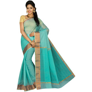 Pavechas Green Solid Cotton Silk Saree with Blouse