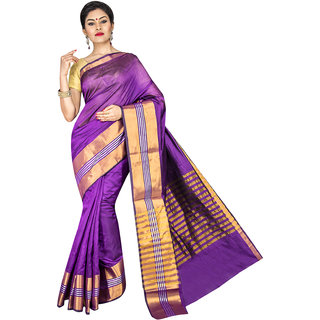 Pavechas Purple Solid Cotton Silk Saree with Blouse