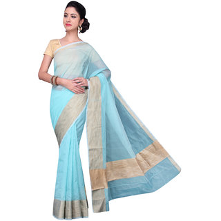 Pavechas Blue Solid Cotton Silk Saree with Blouse