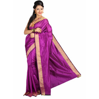 Pavechas Pink Solid Cotton Silk Saree with Blouse