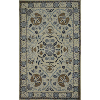 Rugs N More hand tufted beige multi 5ft x 8ft carpet