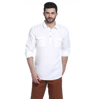 Basics Slim Fit Snow White Twill Kurta Shirt