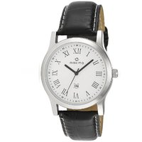 Maxima White Dial Black Leather Analog Watch