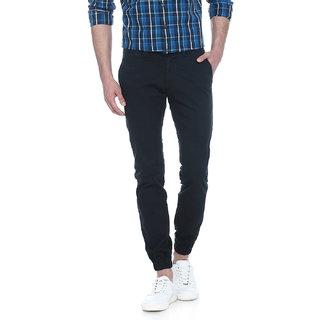 Basics Jogger Fit Dark Sapphire Blind Hem Stitch Dobby Stretch Trouser