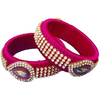 Silk Thread Jewellery Pink Silk Thread Bangles for Women