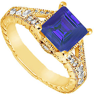 Wonderful Sapphire And Diamond Engagement Ring In 14K Yellow Gold