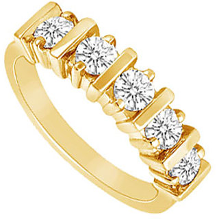 Bewitching Diamond Wedding Band In 14K Yellow Gold
